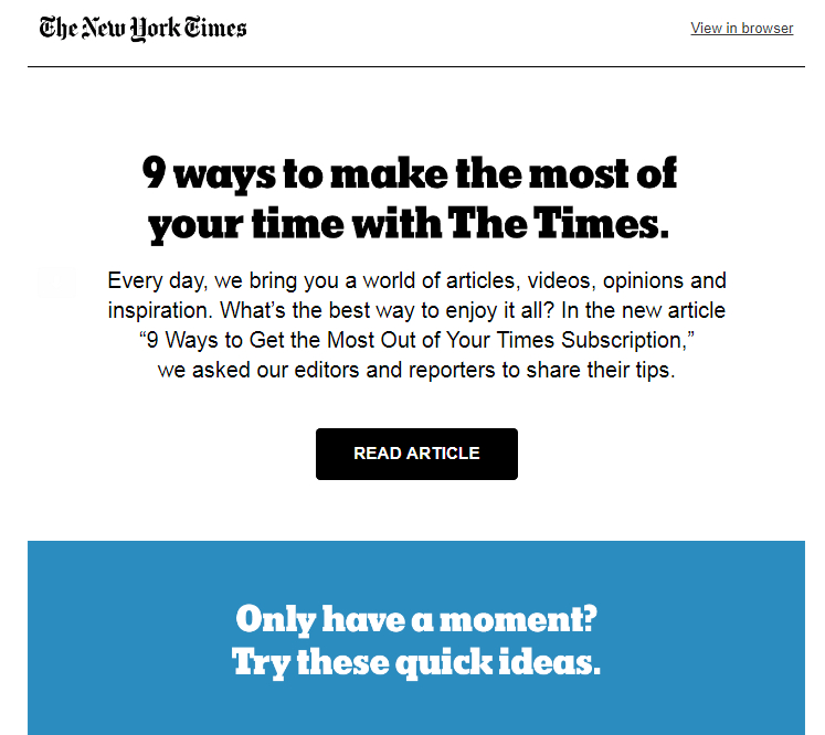 NY Times Email Example