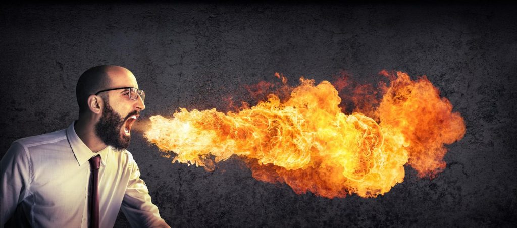Picture of man breathing fire